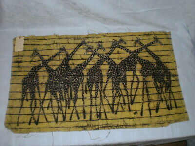 Signed Batik Painting Of A Group Of Giraffes Textile  Art African Artist Ngugi