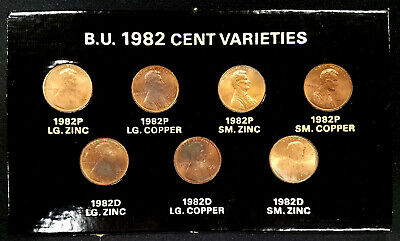 1982 P and D Lincoln Cent, Copper and Zinc, B.U. 7 piece coin set!