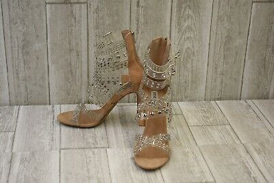 61699979800 STEVE MADDEN MOTO Studded Strappy Stiletto Sandals
