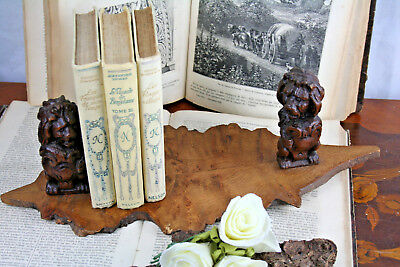 Black forest folk art Wood carved Book ends lions German 1900 antique