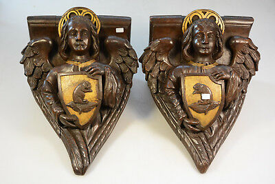 PAIR antique wood carved religious church wall console angels putti escutcheon