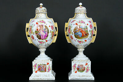 PAIR European marked porcelain Lidded Vases victorian scene floral