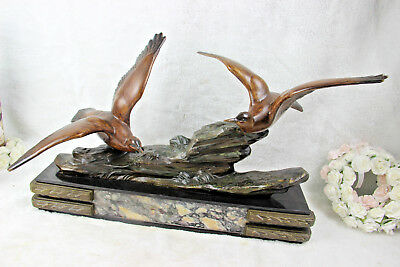 Large French 1930 art deco marble spelter bronze birds statue sculpture