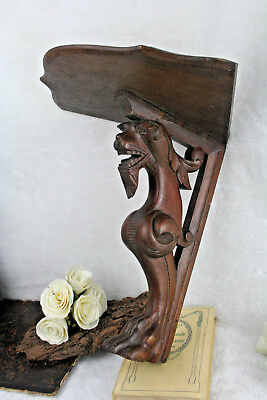 Antique Wood carved wall console neo gothic dragon / lion rare unusual