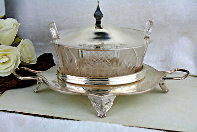 Antique victorian Butter dish glass superior silver plate co usa