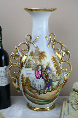 French antique 19th c paris porcelain Vase romantic scene with monkey rare