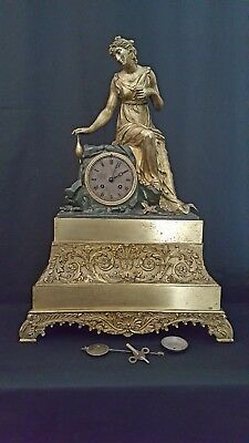 "Antique Large 23.5"" gilt & patinated Bronze clock with  Lady on a Rock. cc 1840"