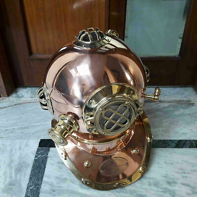 US Navy Brass & Copper Marine MARK V Diver's Antique Heavy Diving Helmet