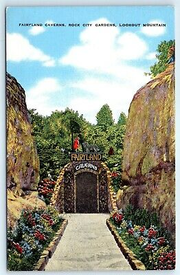 Postcard TN Fairyland Caverns Rock City Gardens Lookout Mountain Vtg View G4