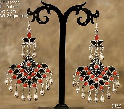 Afghani Indian Pakistani Bollywood Red Black Oxidised German Silver Earring 1119