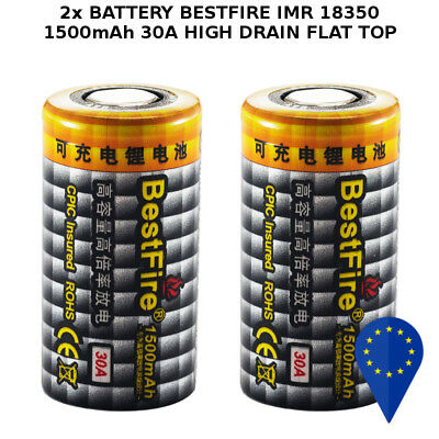 2x BATTERY BESTFIRE IMR 18350 1500mAh 30A DISCARGE HIGH DRAIN BATTERIA FLAT TOP