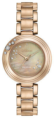 Citizen Eco-Drive Carina Women's Diamond Accents Rose Gold 28mm Watch EM0463-51Y