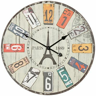 Vintage wall clock XXL Ø 60 cm Paris Arabic numerals wood metal decorative retro