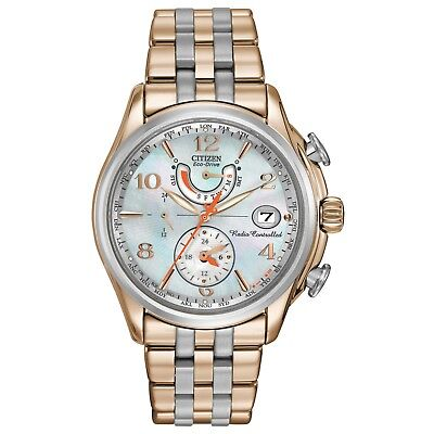 Citizen Eco-Drive Women's Atomic Chronograph Two-Tone 39mm Watch FC0006-52D