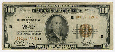 1929 US  $100 Dollars National Curency New York United States Of America  Note Vf