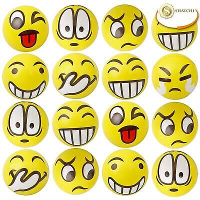 Happy Yellow Bouncy Foam Ball Smile Face Party Favour Stress Relief Toy