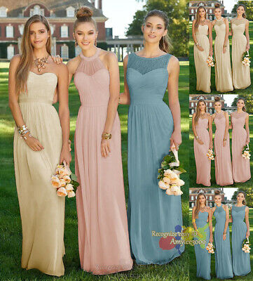 New Long Ruched Chiffon Evening Formal Party Ball Gown Bridesmaid Prom Dresses