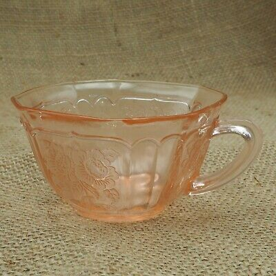 Vintage Anchor Hocking  Mayfair Pink Floral Square Cup