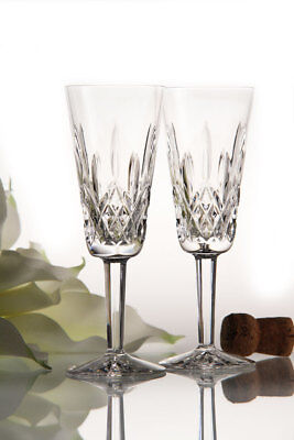Waterford Crystal Lismore Classic Champagne Flute Glass Pair Brand New
