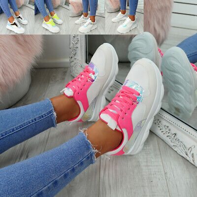 Womens Ladies Lace Up Running Sneakers Shiny Trainers Shoes Size Uk