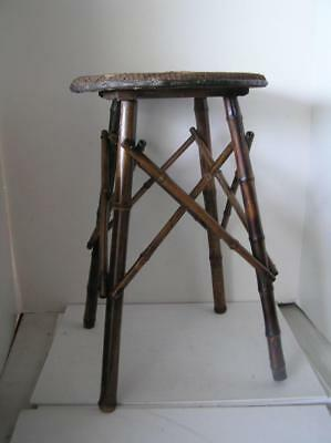 Victorian England Bamboo Stool with 4 cross Legs woven seat RARE!