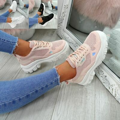 Womens Ladies Lace Up Chunky Trainers Sneakers Plimsolls Fashion Shoes Size