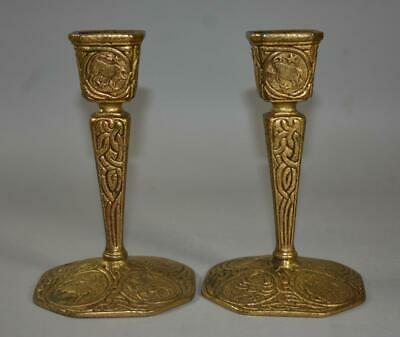Antique Tiffany Gold Dore Candlesticks Zodiac Pattern Signed