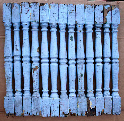 "13 Antique Vintage 24"" Wood Wooden Staircase Stair Rail Spindles Posts Balusters"