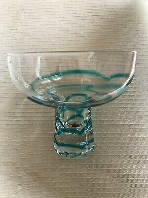 COCKTAIL GLASSES, Aqua Swirl, short/thick stem, wide bowl / Gorgeous Set of 4!