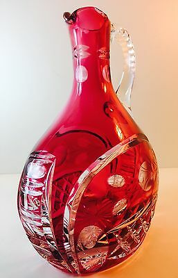 """Vtg Heavy Czech Cranberry Cut Clear Crystal Carafe Pitcher Applied Handle 8.5"""""""