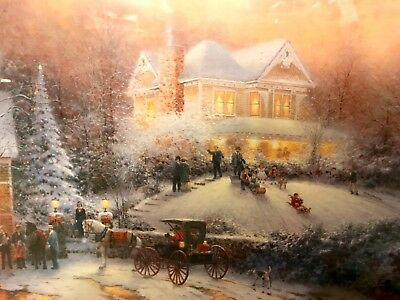 Thomas Kinkade Framed Placerville Victorian Christmas II Lithograph Print 32x36