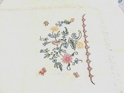 Hand Made Vintage Embroidered Doily Table/Dresser Runner Scarf w/ Crochet Edges