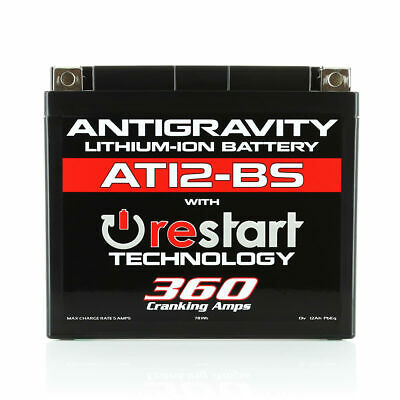 Antigravity AT12-BS-RS Lithium RE-START Motorsports Battery: Replace OEM YT12BS