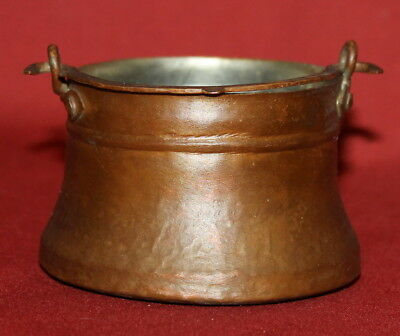 Antique Hand Made Tinned Copper Folk Small Pail Bucket
