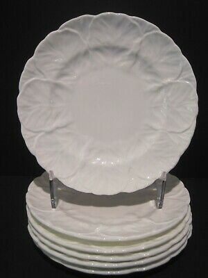 "Set of 6 Coalport Countryware White Embossed Leaf Bread Plates 61/8"" England EUC"