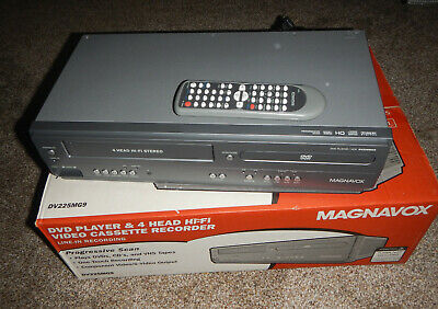 MAGNAVOX VCR VHS Recorder DVD Player Combo DV225MG9 Grey w/Remote,Cables IOB