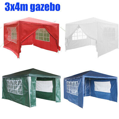 New 3 x 4m Waterproof Garden PE Gazebo Outdoor Party Tent Wedding Canopy Marquee