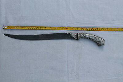 Indo-Persian Mughal Islamic Silver Damascened Khanjar/pesh-Kabz Knife No Wootz