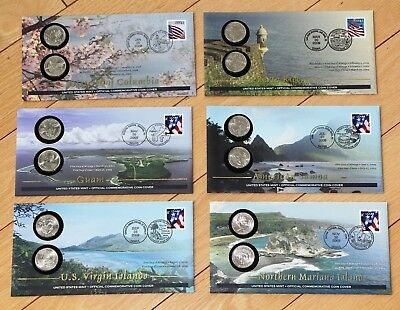 Complete 2009 Set Of 6 Territories P&d States Quarters Sealed 1St Day Of Issue