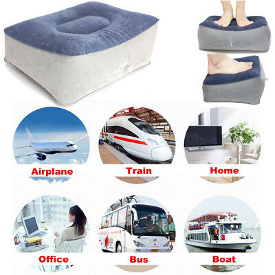 Inflatable Travel Foot Rest Footrest Air Pillow Flight Office Home Leg Up Relax