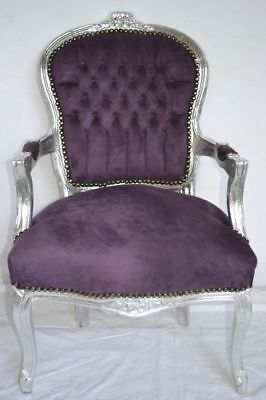Louis Xv Arm Chair French Style Chair Vintage Furniture Purple And Silver Wood