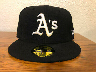 best service a6718 ffcd7 Oakland A s Athletics New Era Fitted Hat Size 7 3 4 Black   White