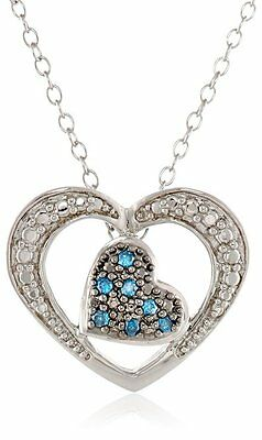 """Sterling Silver Blue and White Diamond Double Heart Pendant Necklace, 18"""" $100"""