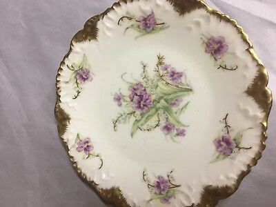 Antique Hand Painted Limoges Plate Violets
