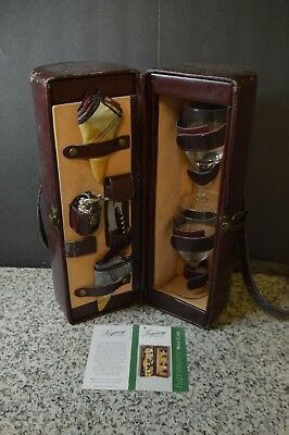Vintage Legacy By Picnic Time Wine Bottle Leather Bag W/Wine Glasses