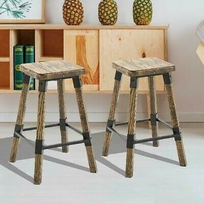 Astonishing Set Of2 Rustic Bar Stools Counter Height Wood Top Kitchen Alphanode Cool Chair Designs And Ideas Alphanodeonline