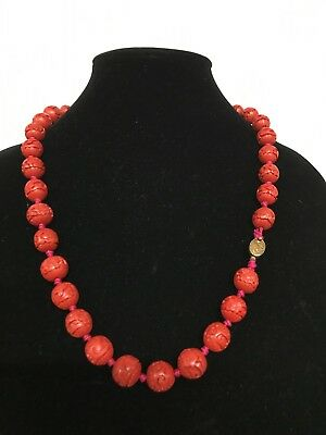 Vintage Carved Red Cinnabar Bead Necklace FlowersClasp