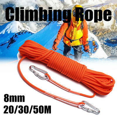 8mm 20/30/50M Durable Rock Climbing Safety Rappelling Rope Auxiliary Cord Sling