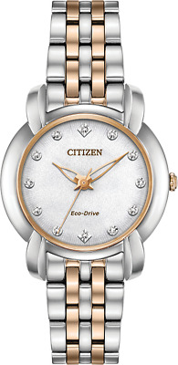 New Citizen Jolie Women's Watch Silver/Rose Gold Stainless Steel #EM0716-58A
