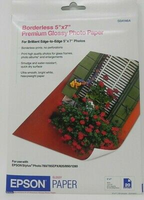 Epson Borderless Premium 5 x 7 Glossy Photo Photo Paper 20 Sheets/Pack S041464